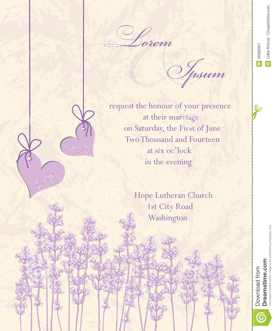 royalty free stock photo download wedding invitation card lavender background - Lavender Wedding Invitations