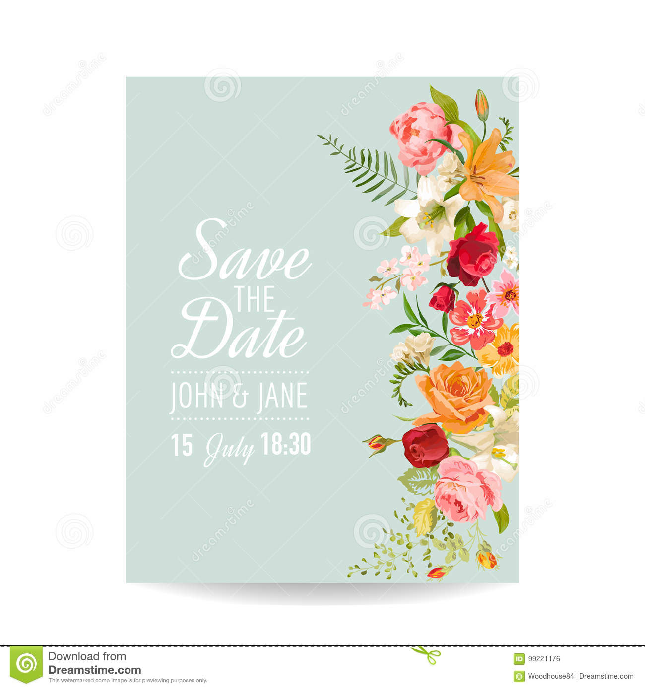 Wedding invitation card with lily flowers and orchid baby shower download wedding invitation card with lily flowers and orchid baby shower decoration stock vector filmwisefo