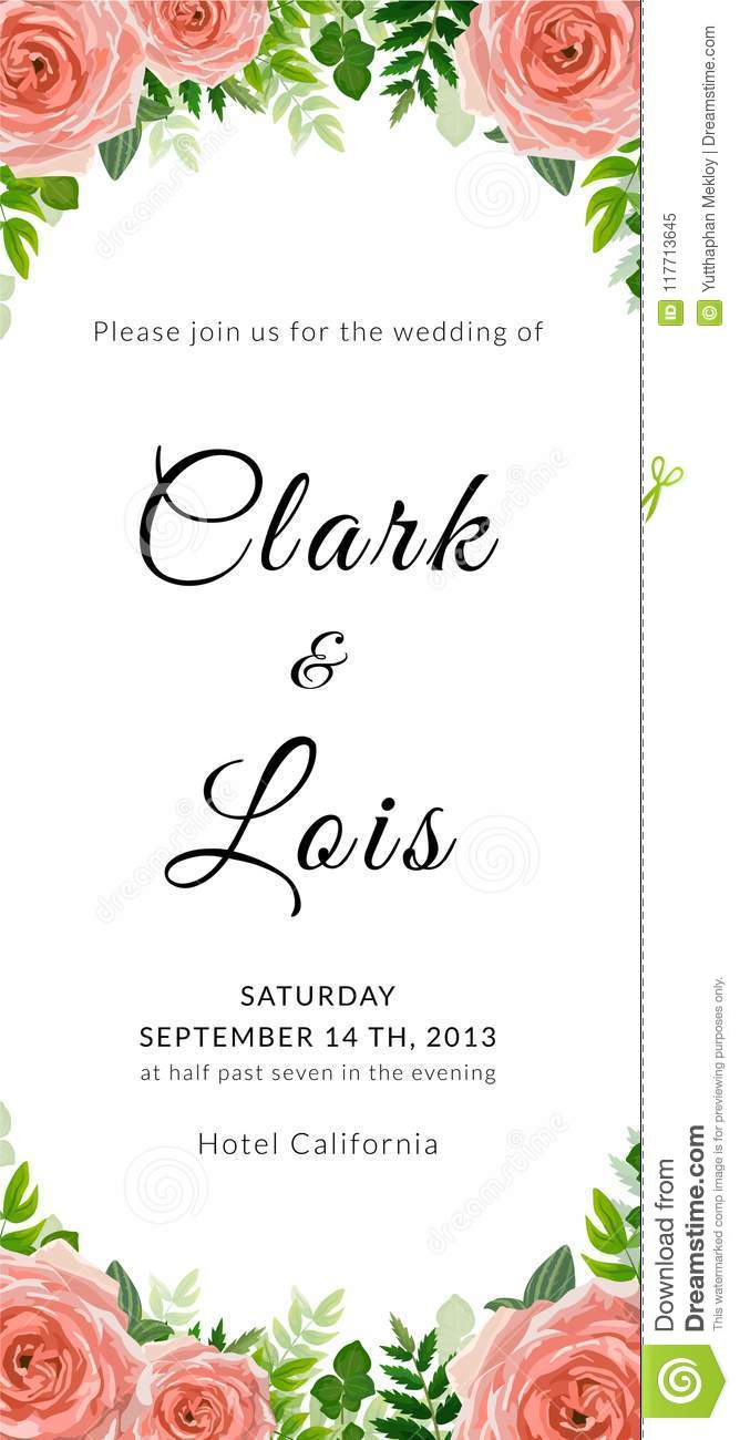 Wedding Invitation Card. Lovely Template. Card Design With Rose ...
