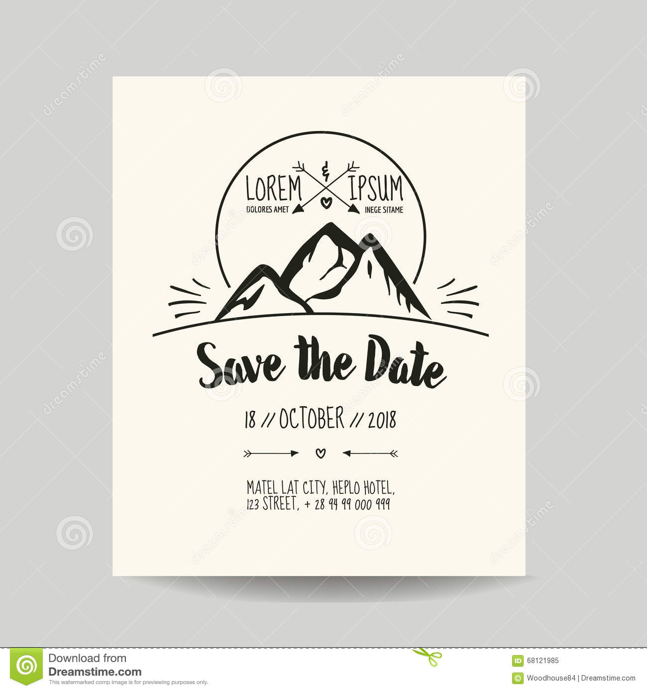 Wedding invitation card with mountain stock vector image 68121985 for Save the date vector