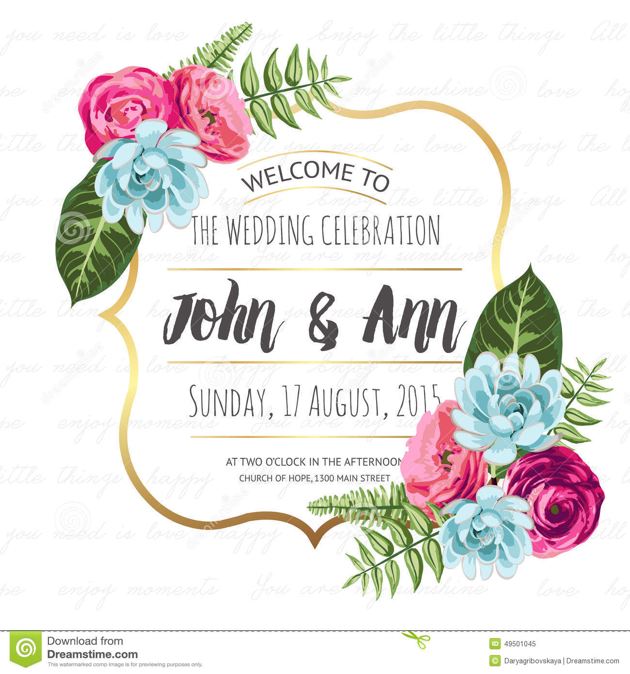 Wedding Invitation Card With Painted Flowers Stock Image - Image of ...
