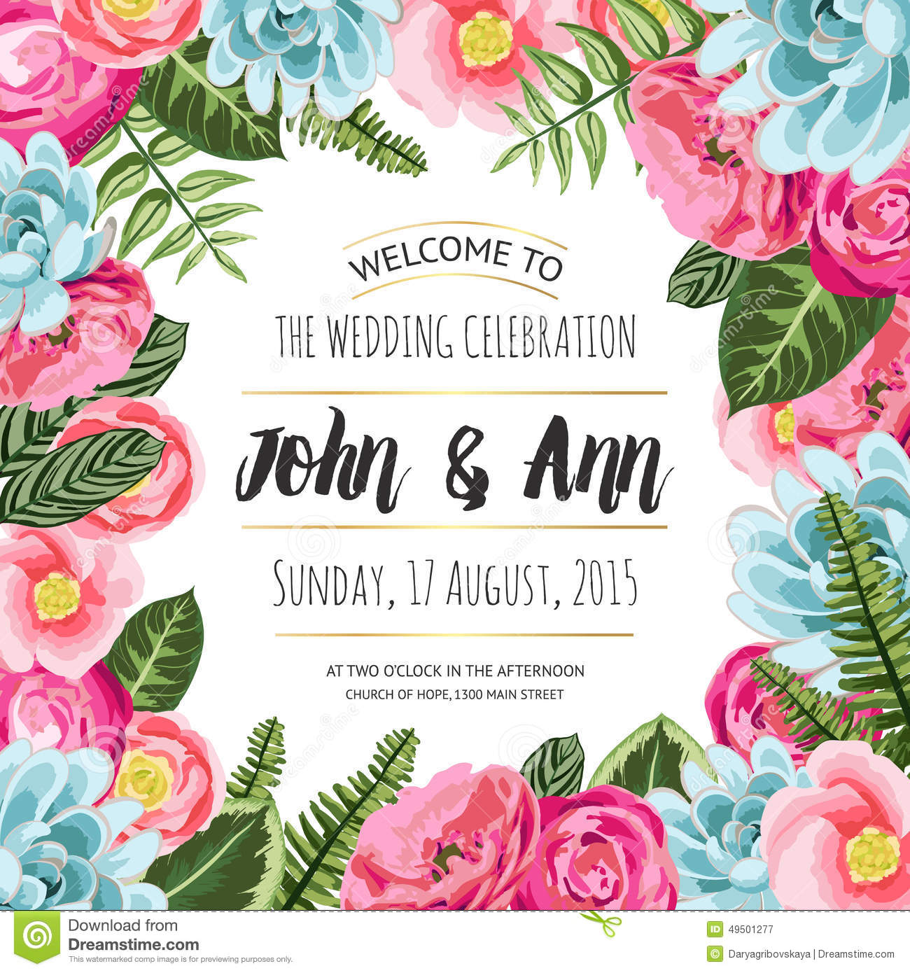 Wedding Invitation Card With Painted Flowers Stock Image