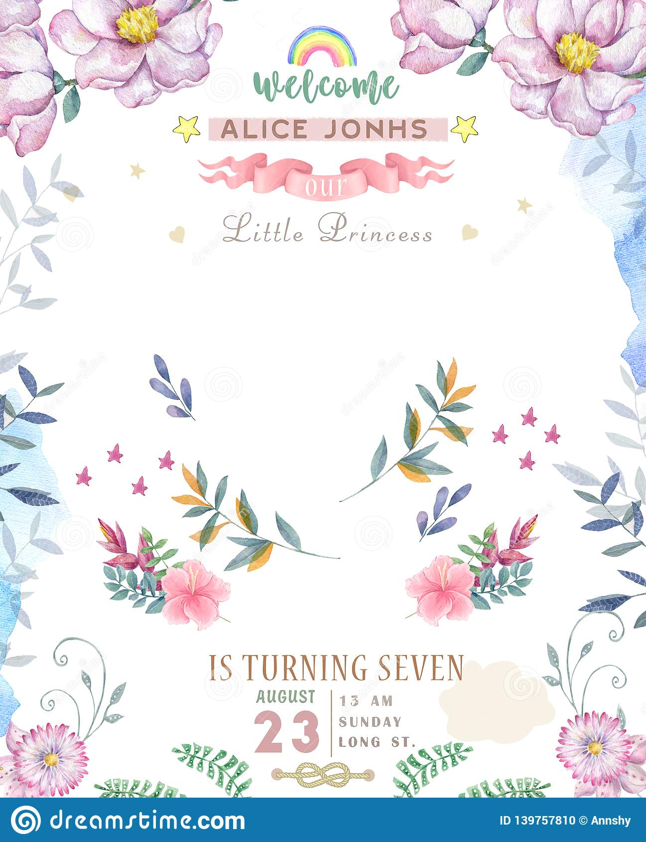 Wedding Invitation Or Card With Pink Floral Background Greeting