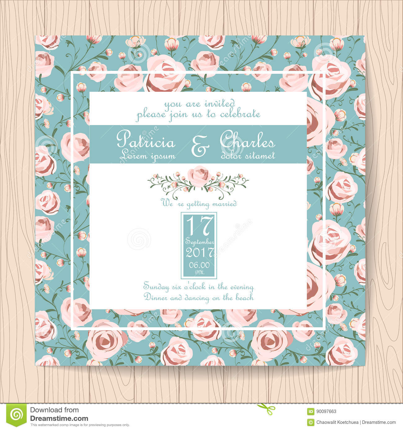 Wedding Invitation Card With Pink Rose Flower Pattern Templates ...