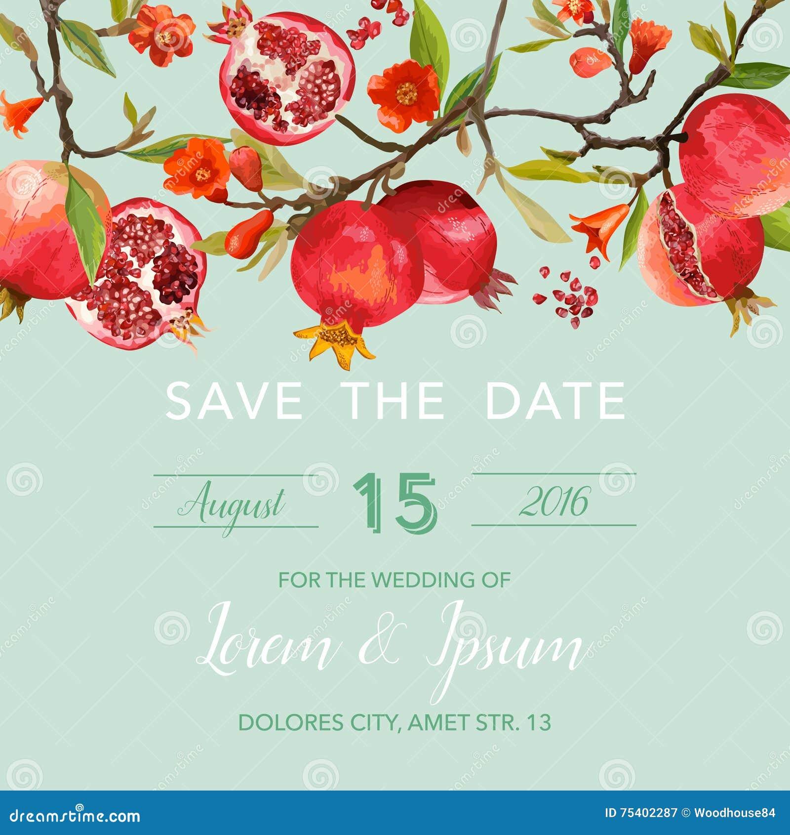Pomegranate And Flowers Card. Fruit Background. Wedding Invitation ...