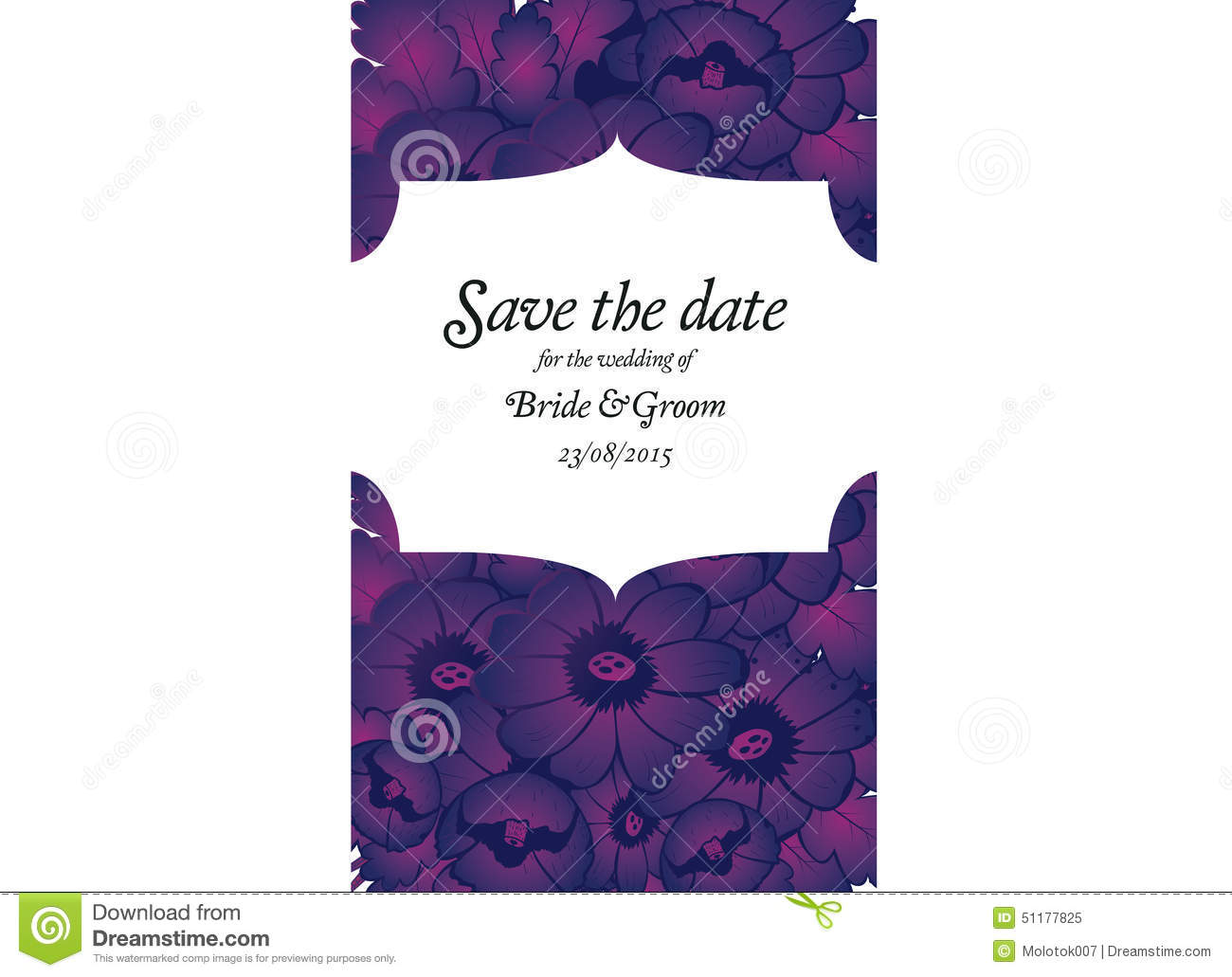 Wedding Invitation Card With Purple Flowers Stock Vector ...