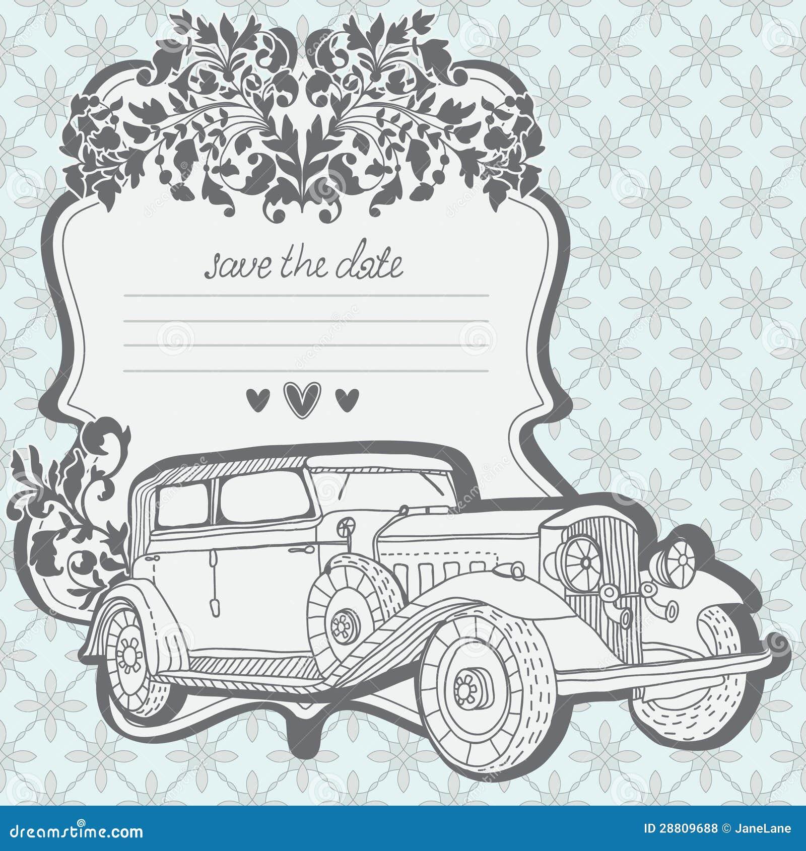 Wedding Invitation Card With Retro Car Stock Vector Image 28809688