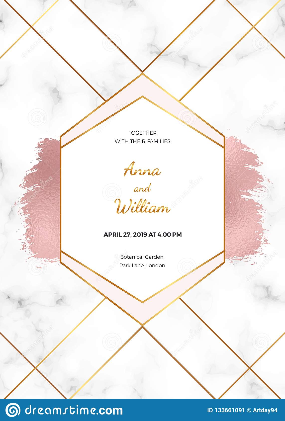 Wedding invitation card with rose gold geometric design, polygonal lines and foil brush paint stroke on the marble texture. Backgr