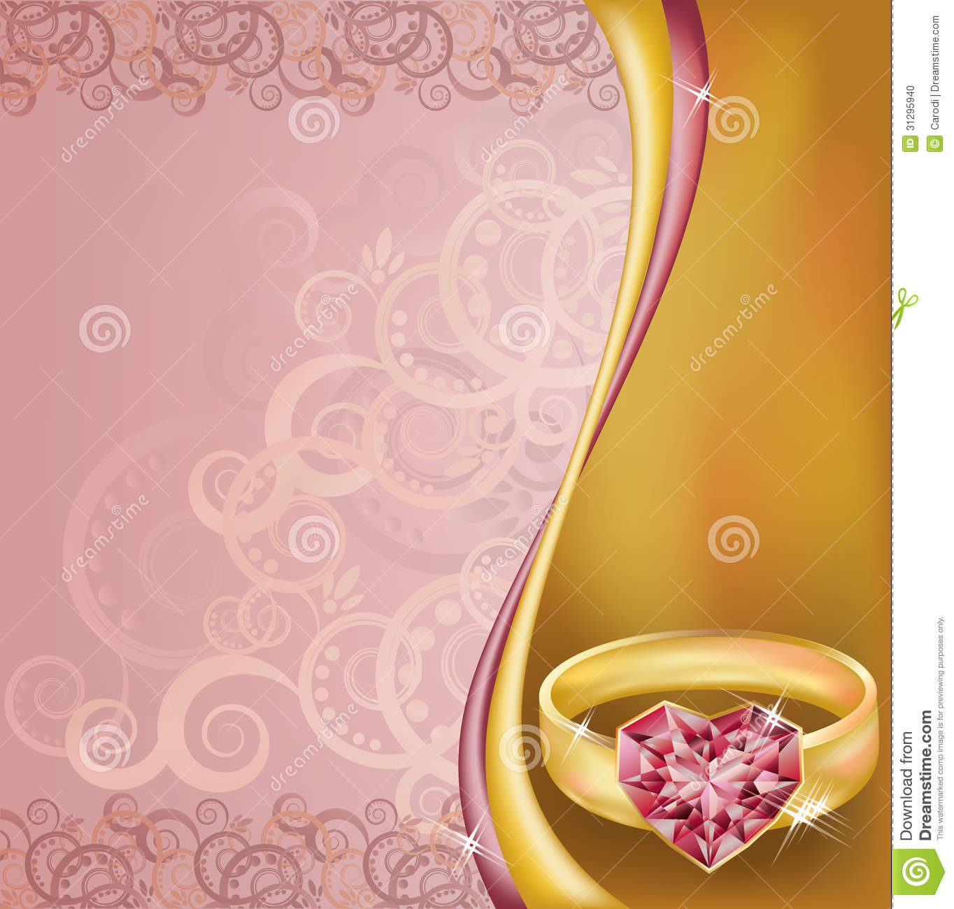 Wedding Invitation Card With Ruby Heart Ring Stock Vector ...
