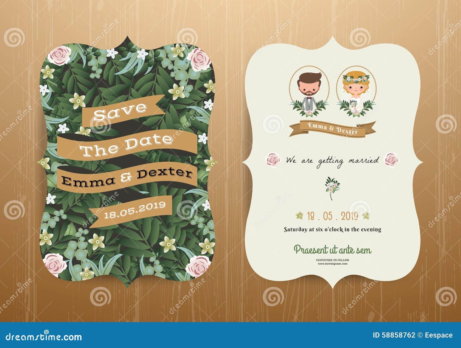 Wedding Invitation Card Rustic Cartoon Bride And Groom ...