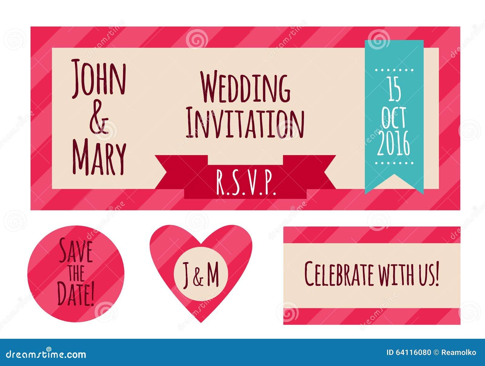 Wedding Invitation Card In Simple Style Stock Vector - Illustration ...