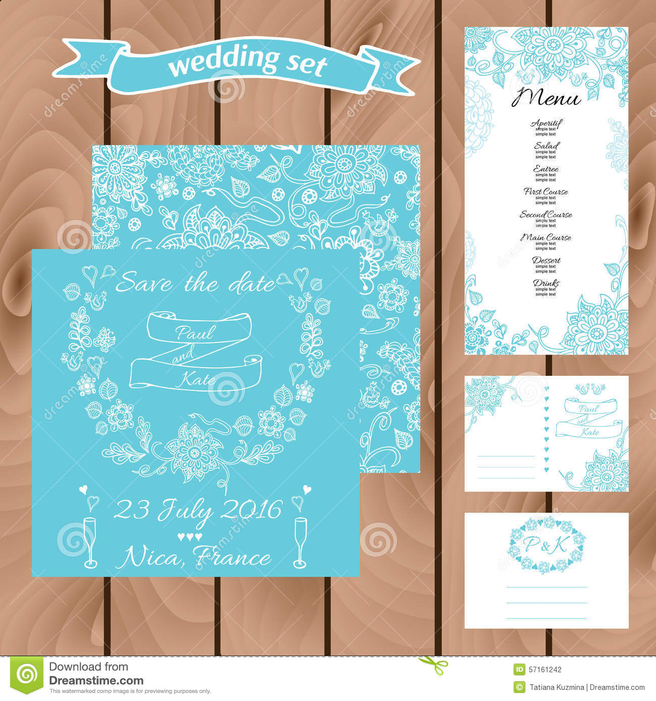 Wedding Invitation Card Suite With Daisy Flower. Templates Stock ...