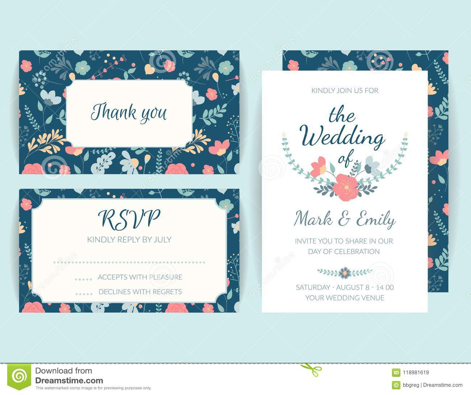 Wedding Invitation Card Suite, Floral Invite, Rsvp Modern Card, Save ...