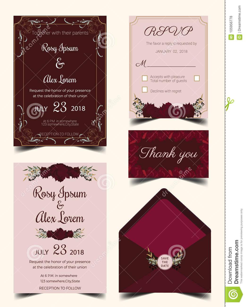 Wedding Invitation Card Suite With Flower Templates. Stock Vector ...