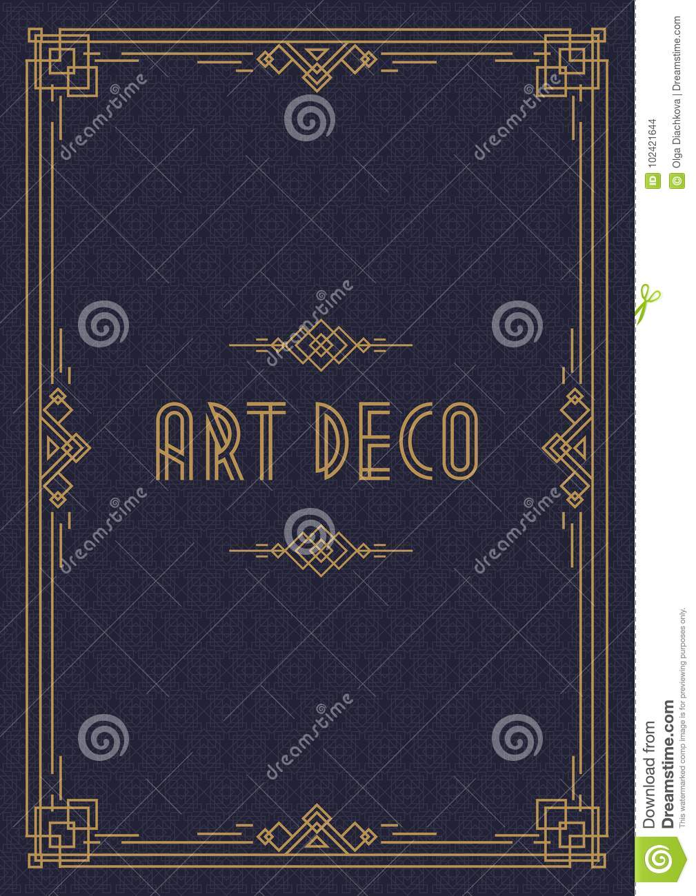 wedding invitation card template art deco style with frame gold