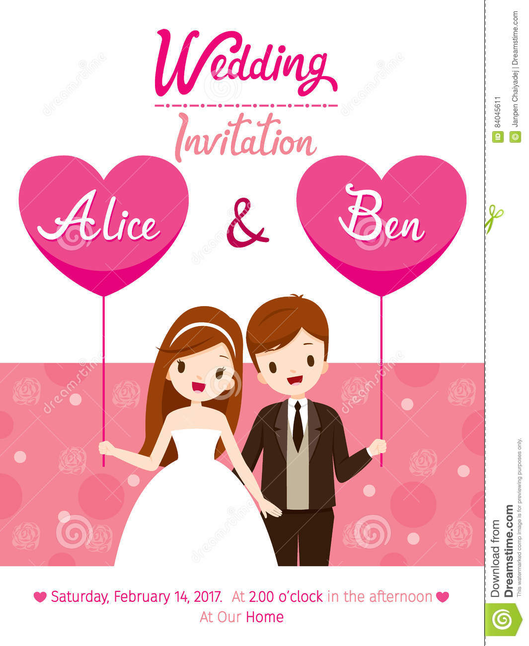 Wedding Invitation Card Template, Bride And Groom  Engagement Card Template