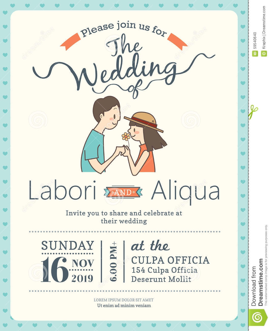 wedding invitation card template with cute groom and bride stock