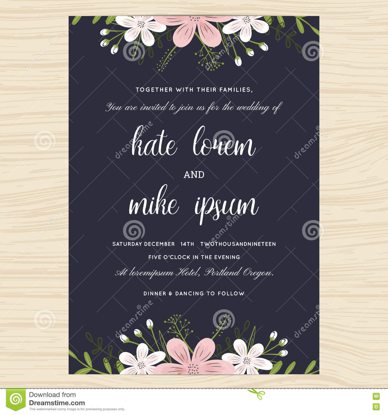 Wedding Invitation Card Template Decorate With Flower Floral Wreath