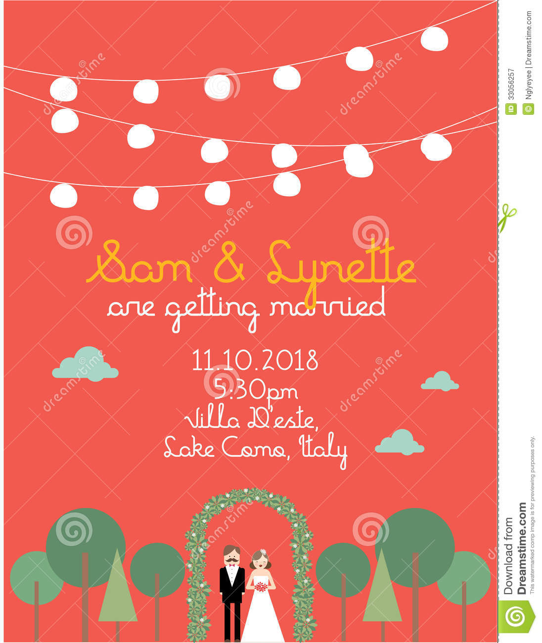 Wedding Invitation Card Template /illustration Stock Illustration ...