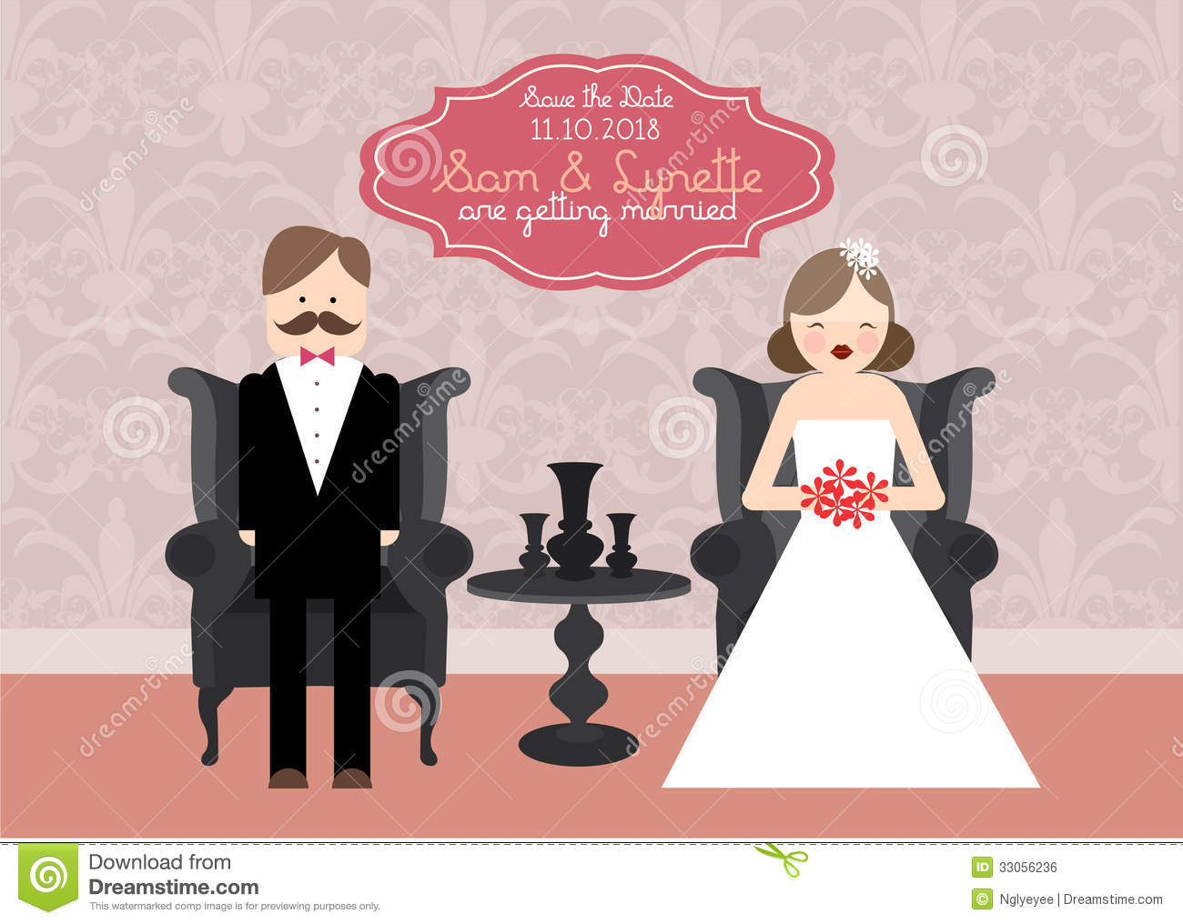 Wedding Invitation Card Template Illustration Stock Illustration ...