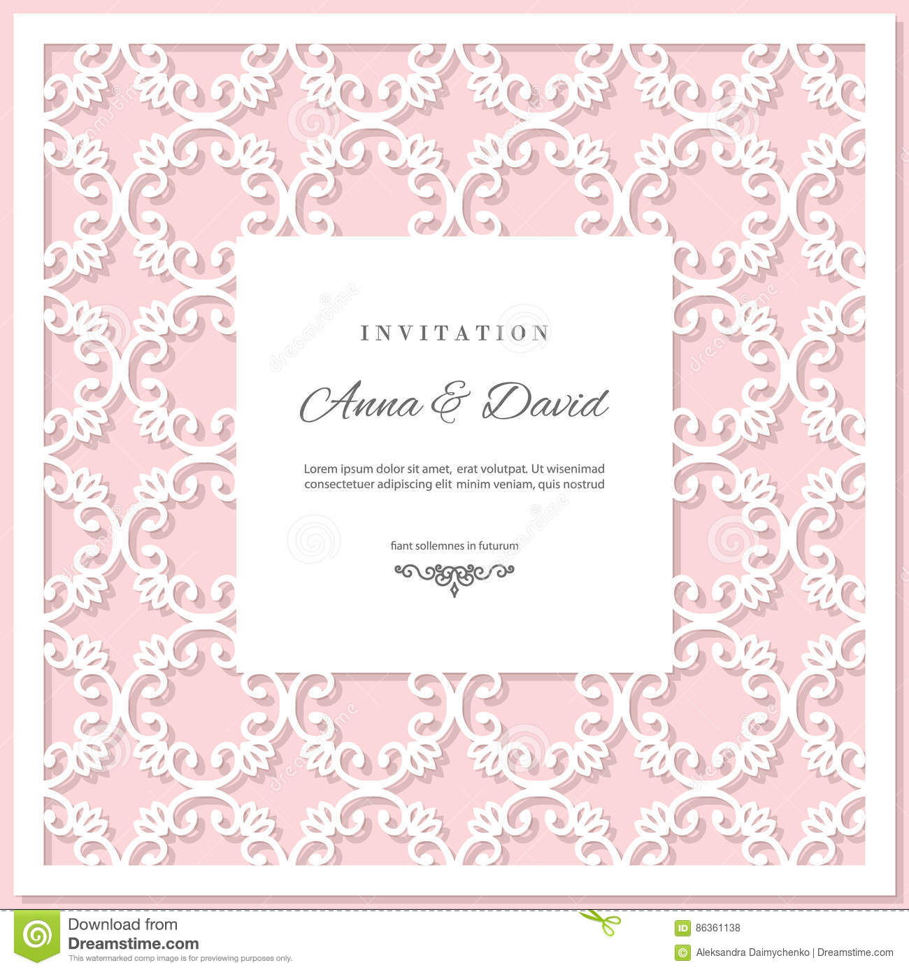 Wedding Invitation Card Template With Laser Cutting Frame ...