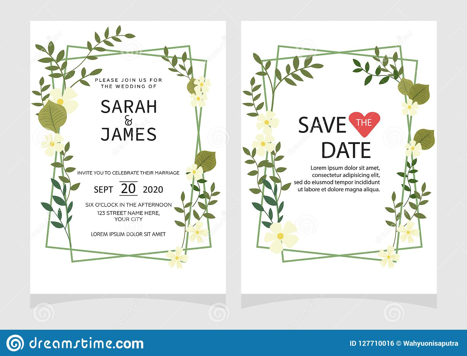 Wedding Invitation Card Template With Marble Texture