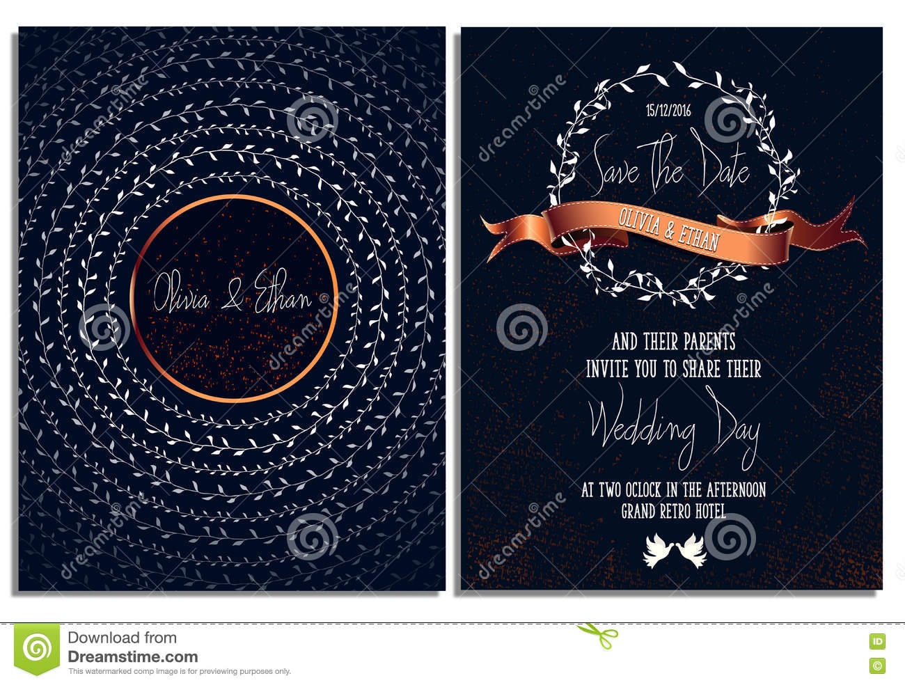 Ready To Print Wedding Invitations: Wedding Invitation Card Template. Print Ready .Save The