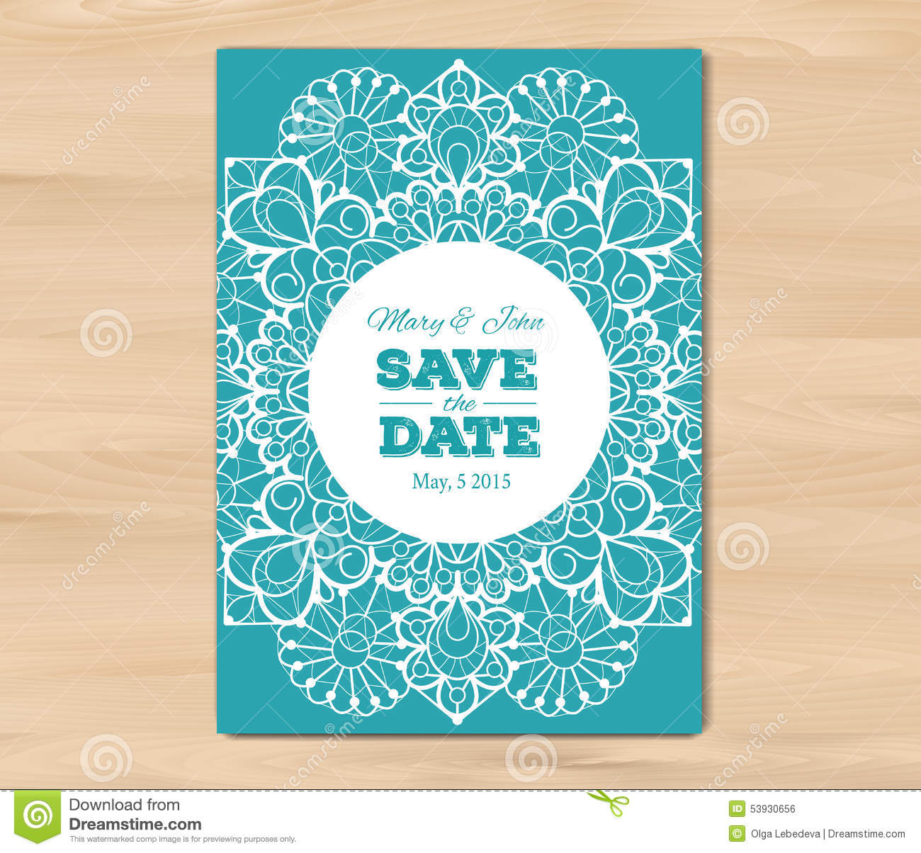 Wedding invitation card template stock vector image for Vintage save the date templates free