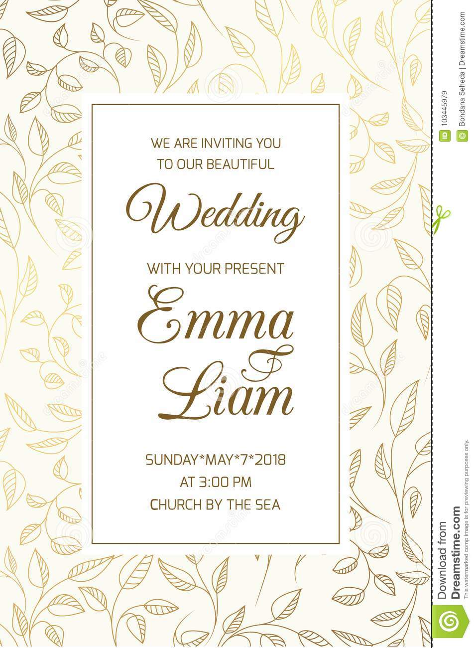 Wedding Invitation Card Template Swirl Leaves Gold Stock Vector
