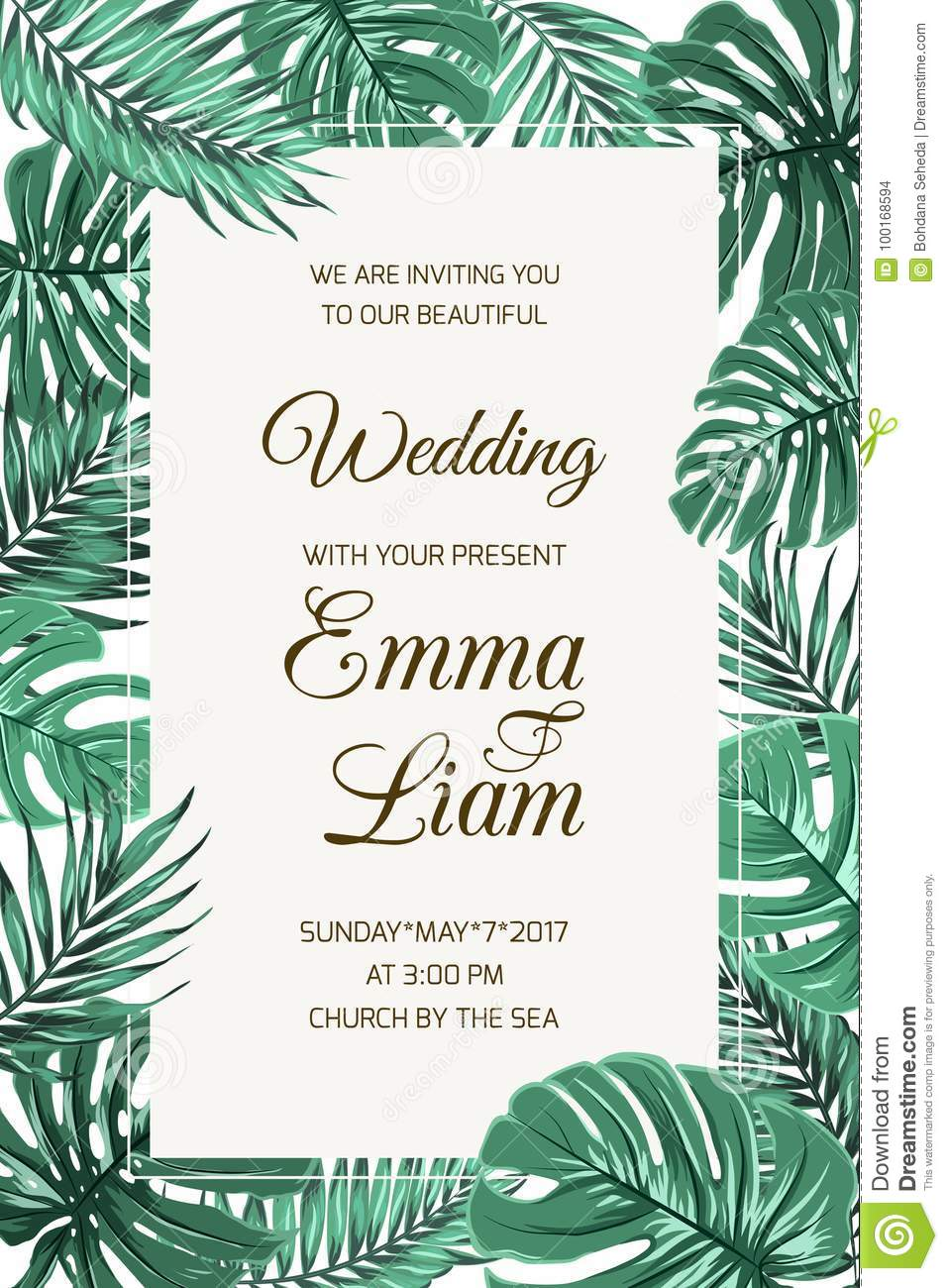 Wedding Invitation Card Template Tropical Leaves Stock Vector Illustration Of Modern Design 100168594 About tropical palm tree leaves invitation: https www dreamstime com wedding invitation card template tropical leaves event exotic jungle rainforest bright green palm tree monstera border frame image100168594