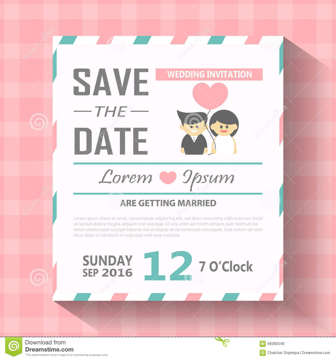 Wedding Invitation Card Template Vector Illustration Wedding