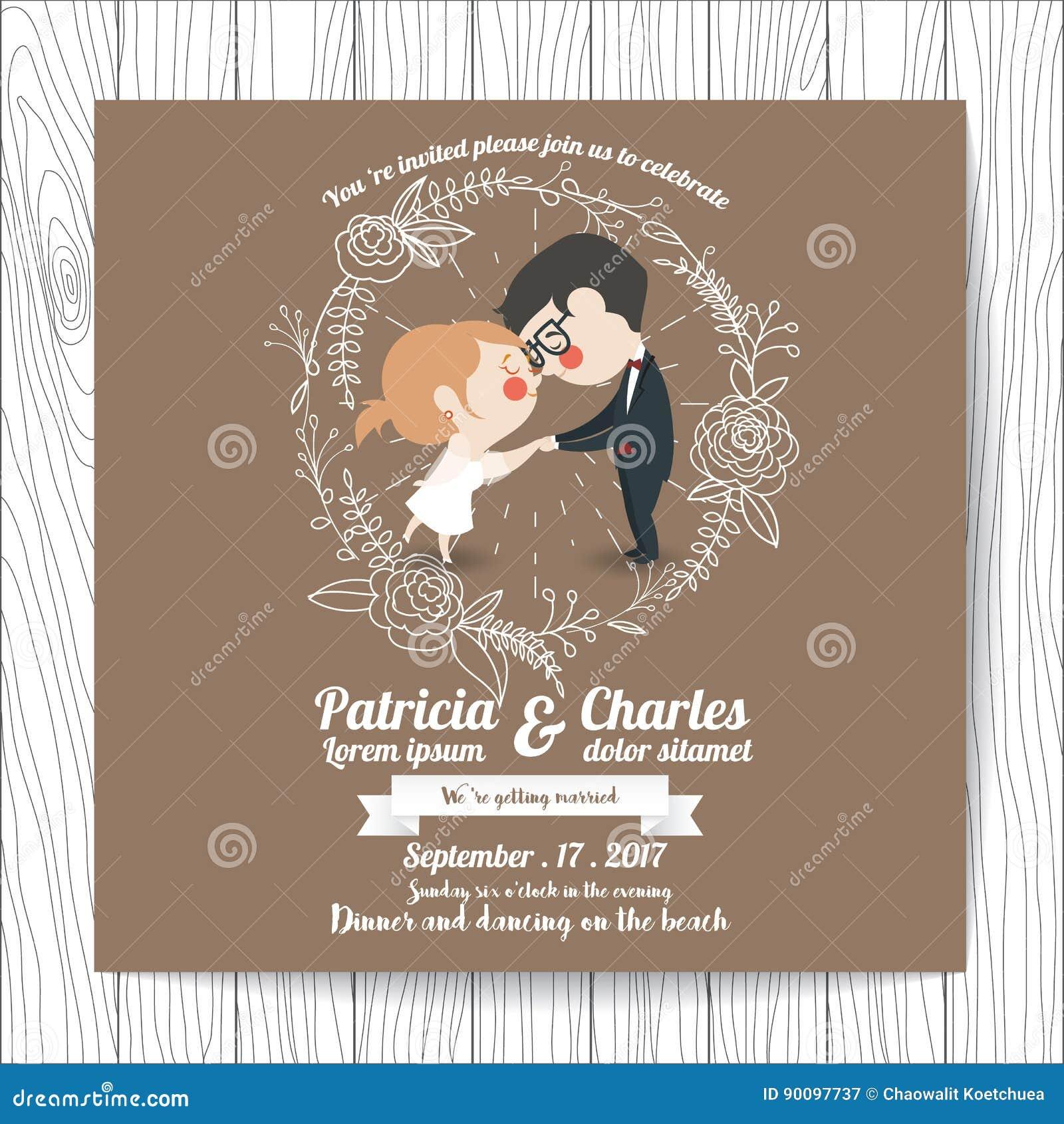 wedding invitation card templates cartoon character bride stock