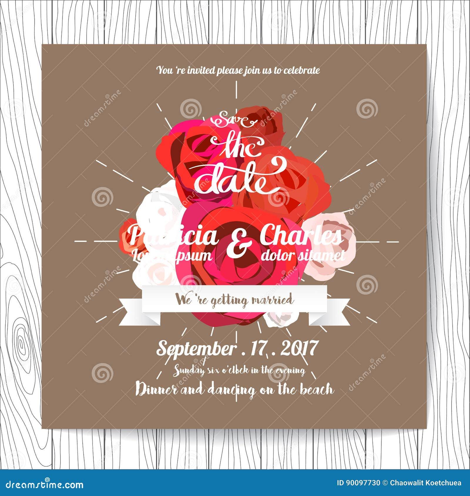 wedding invitation card templates flower blossom on brown back