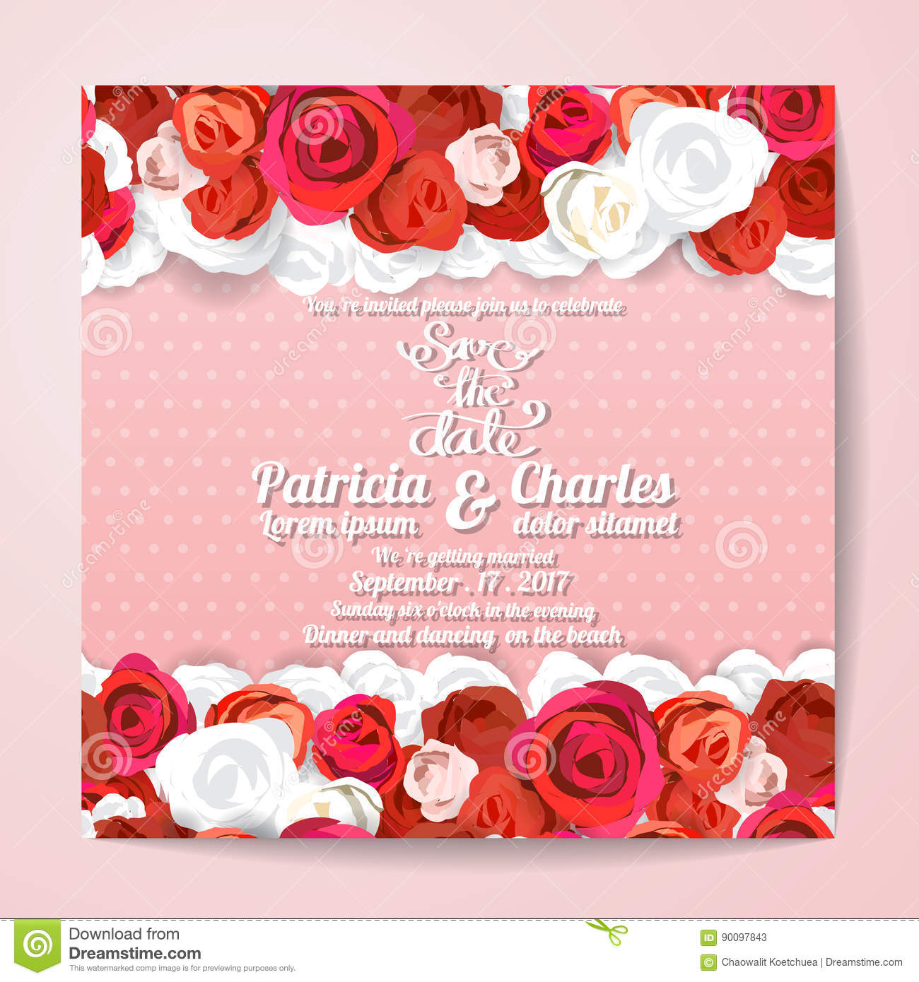 Wedding Invitation Card Templates, Flower Rose Blossom On Pink Stock ...