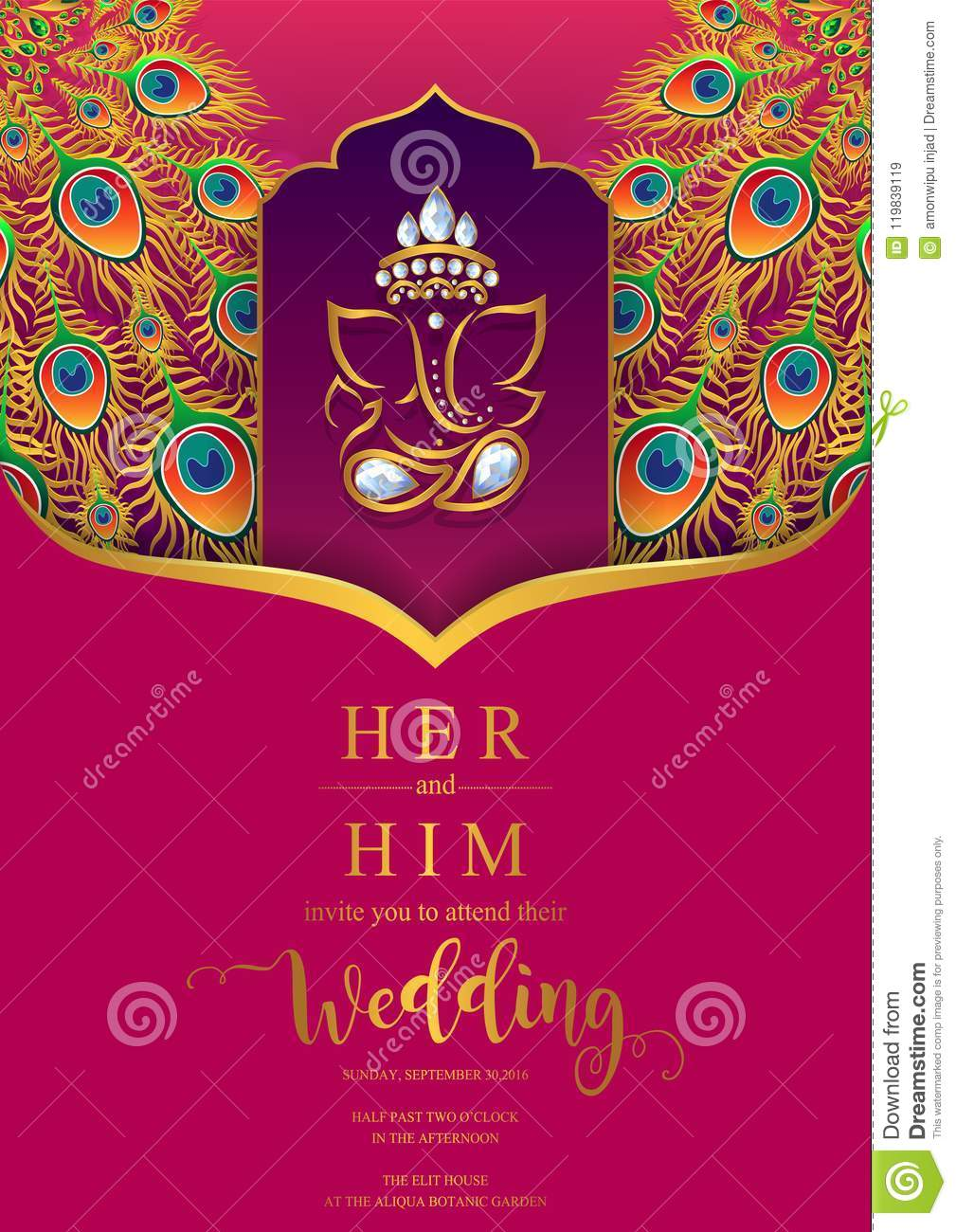 Wedding Invitation Card Templates Stock Vector Illustration Of