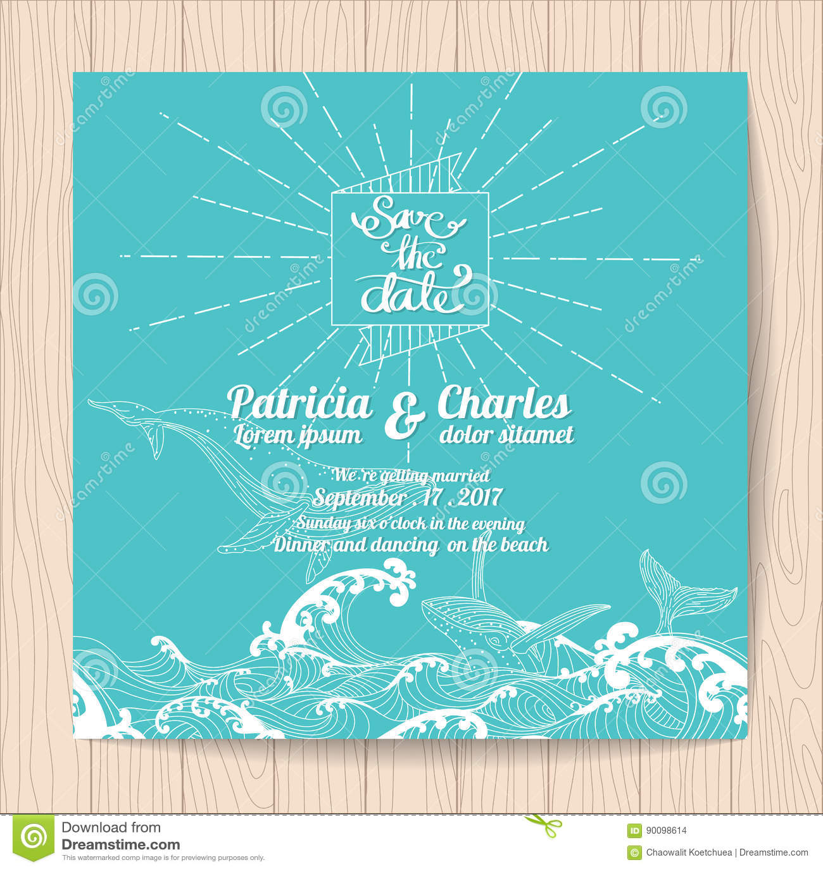 wedding invitation card templates ocean theme stock vector
