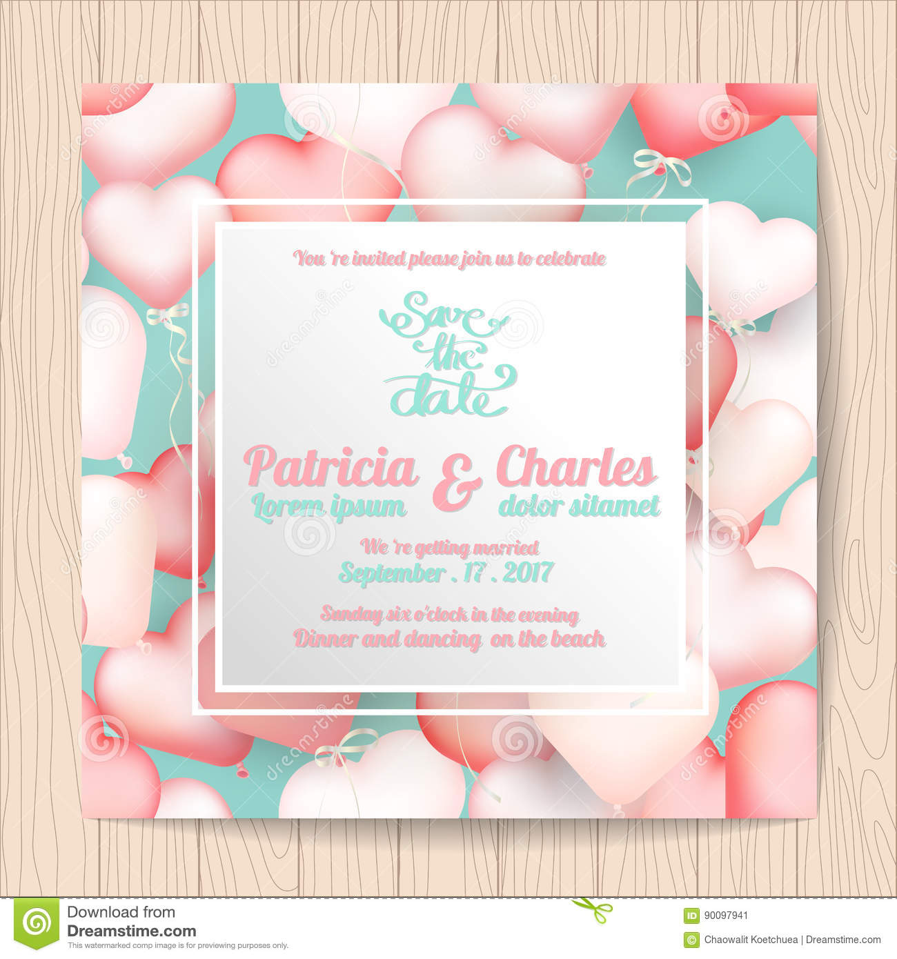 Wedding Invitation Card Templates, Sweet Heart Balloon Stock Vector ...