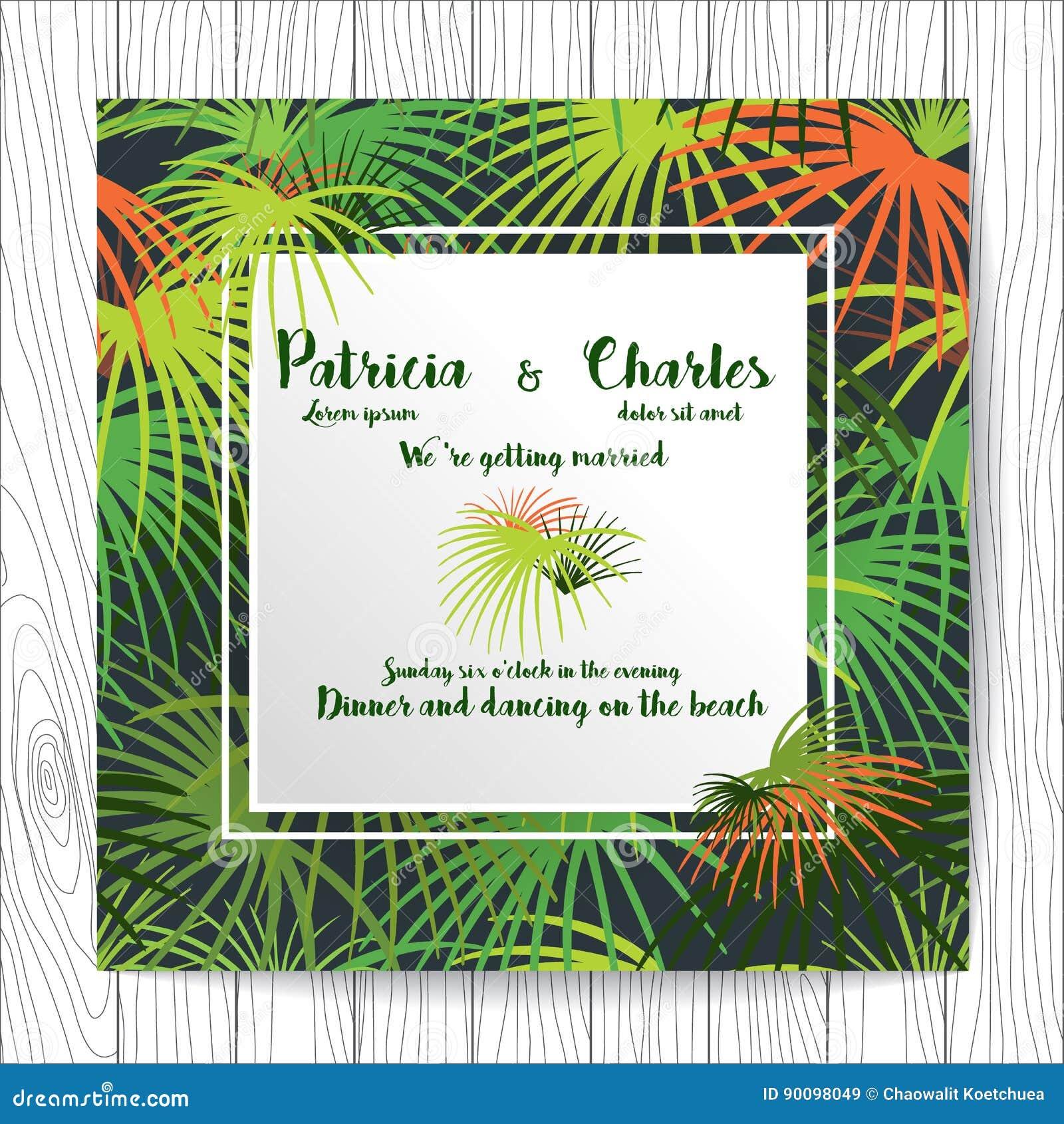 Wedding Invitation Card Templates, Tropical Rainforest Theme Sea ...