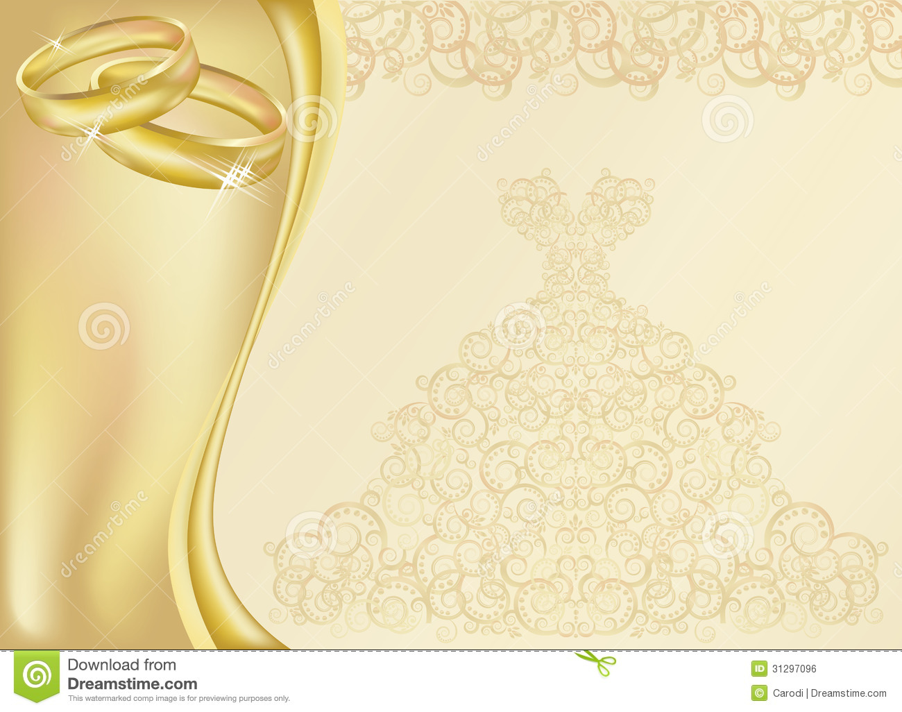 wedding invitation card two golden rings 31297096
