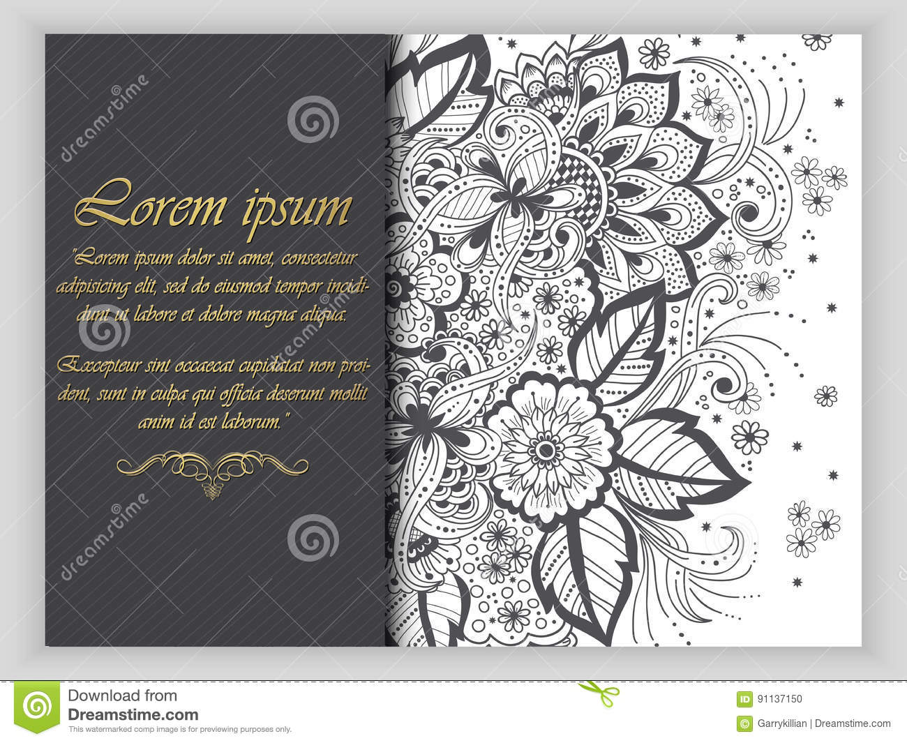 Wedding Invitation Card With Vector Abstract Floral Elements In