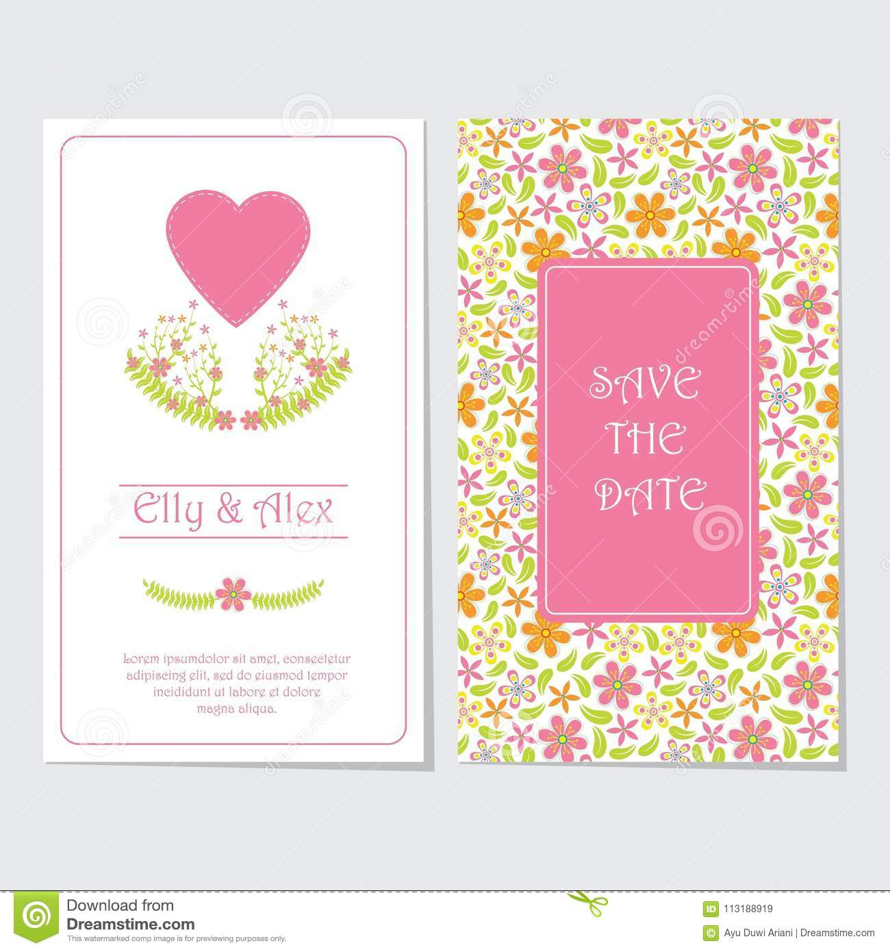 Wedding Invitation Card Vector Design Template With Pink Flower And ...