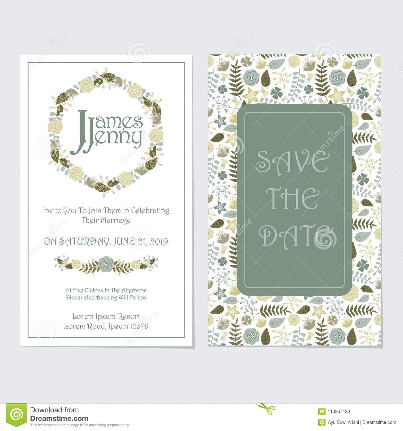 Yellow And Blue Roses Wreath Wedding Invitation Card Stock ...