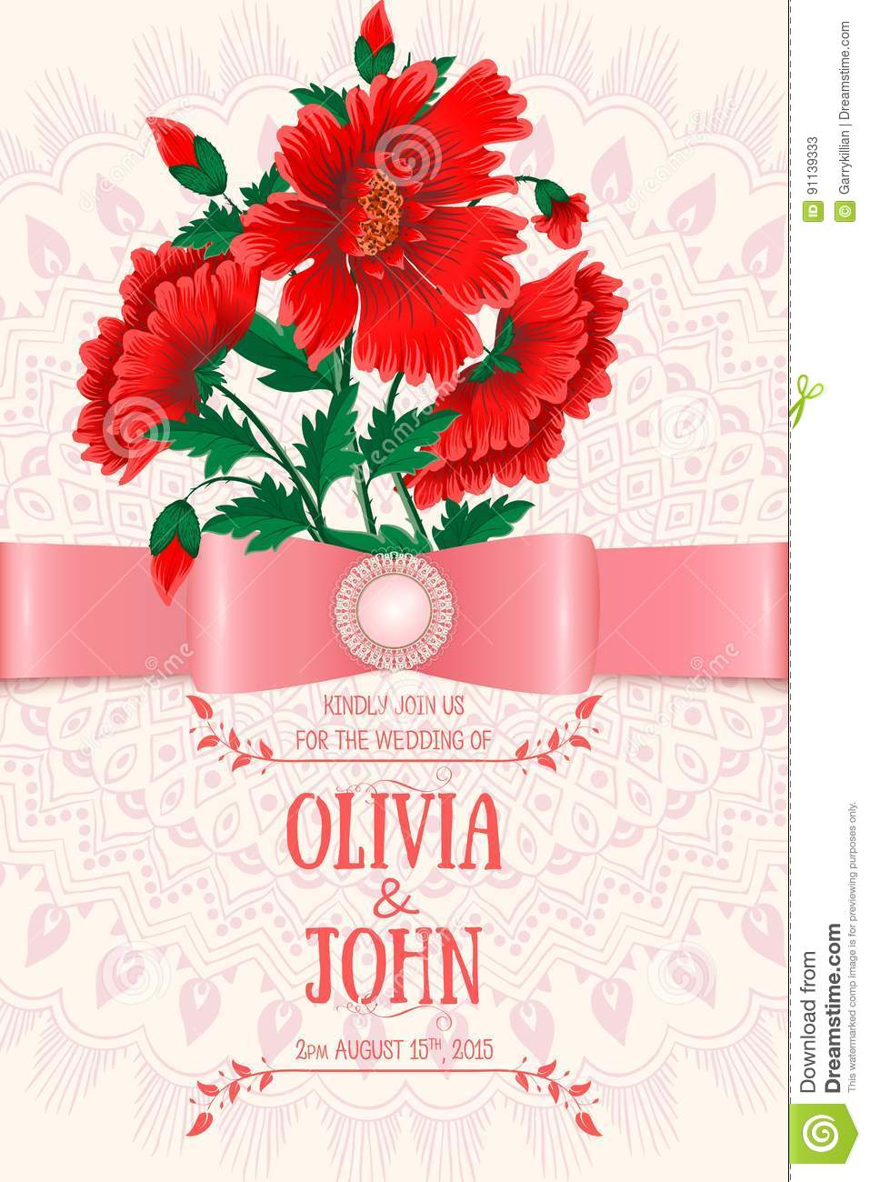 Wedding Invitation Card. Vector Invitation Card With Floral ...