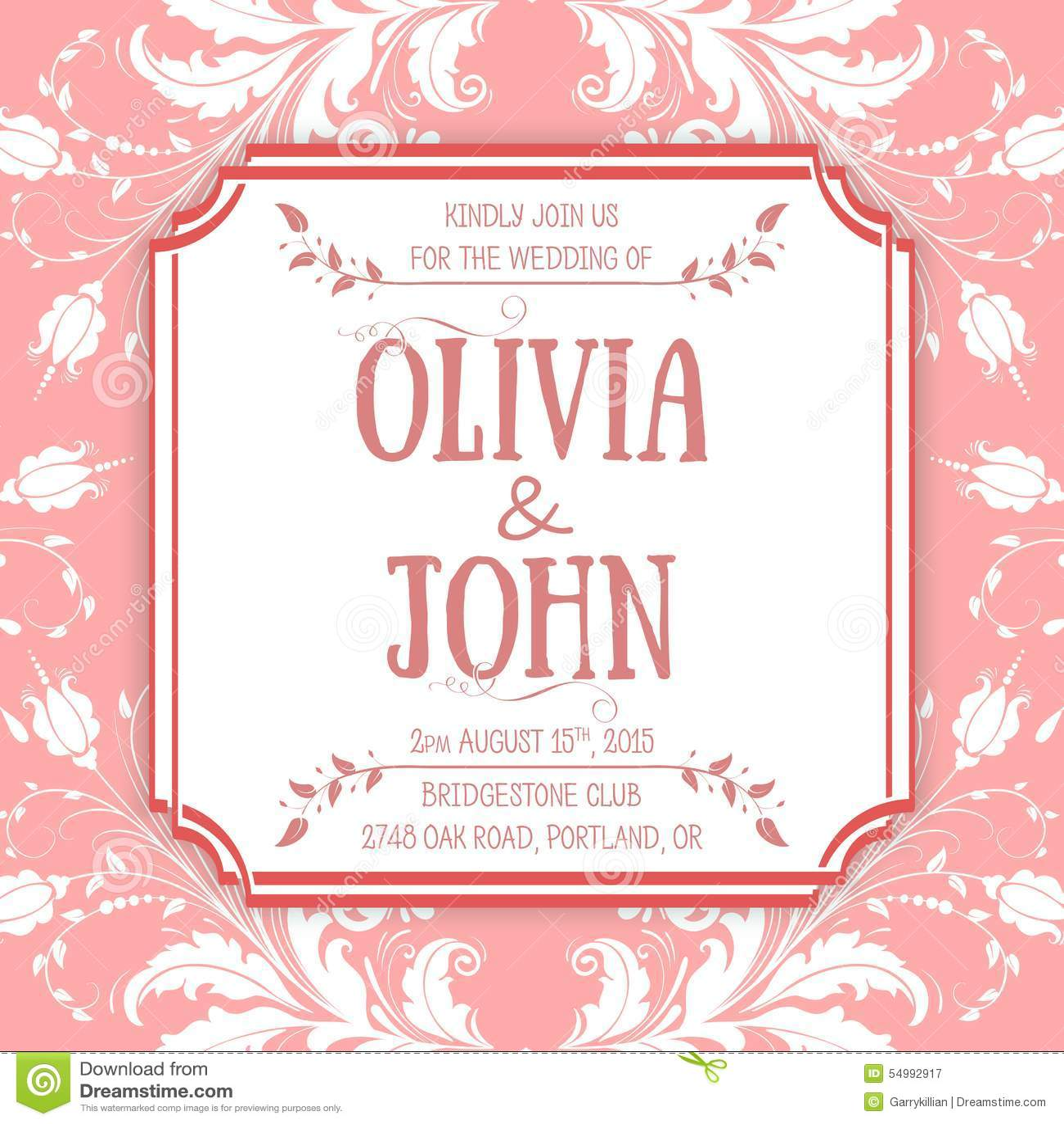 Wedding Invitation Card Vector Invitation Card Stock Vector