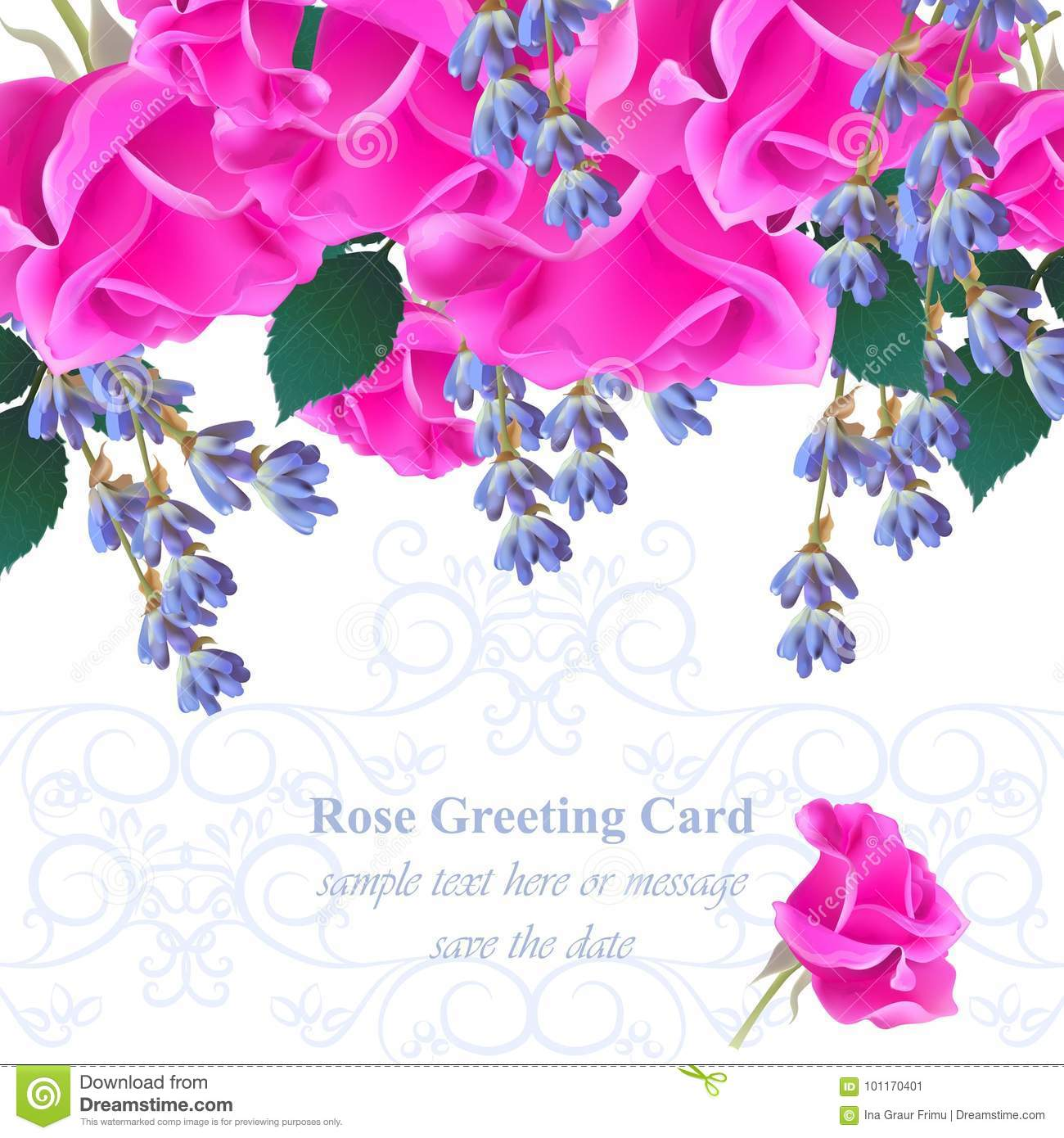 Wedding Invitation Card Vector. Roses And Lavender Flowers. Fuchsia ...