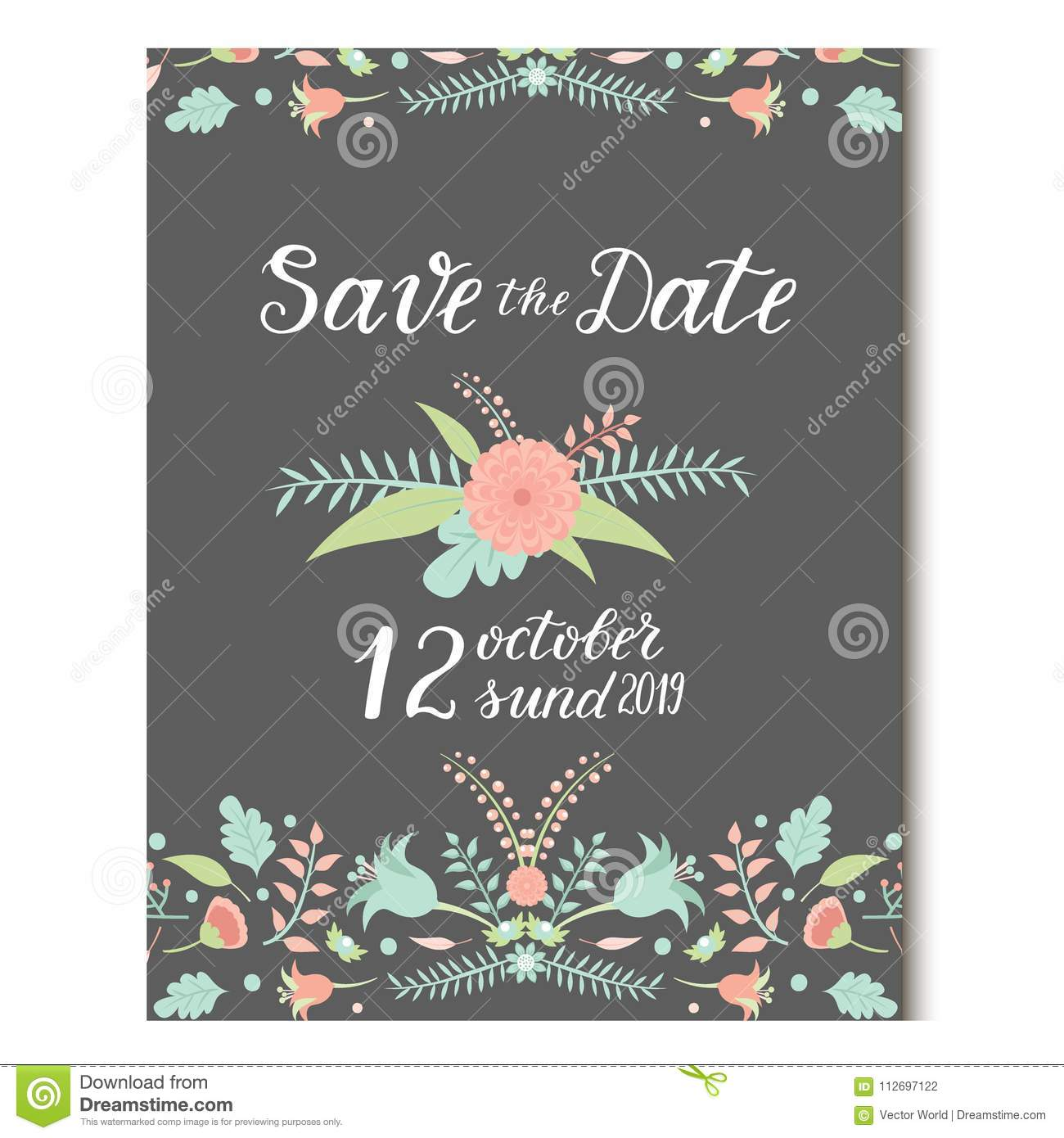 Wedding Invitation Card Vector Save The Date Suite With Flower ...