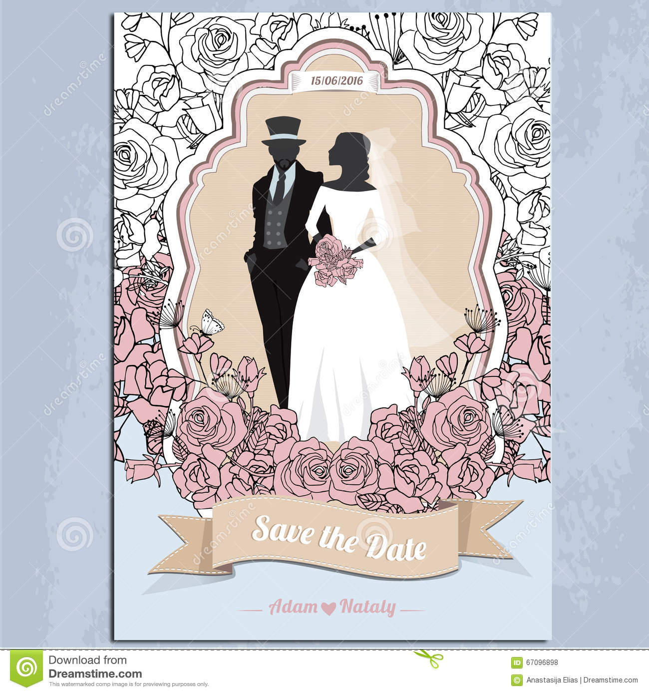 Wedding Invitation Card Vintage Design Silhouette Dividers Ceremony