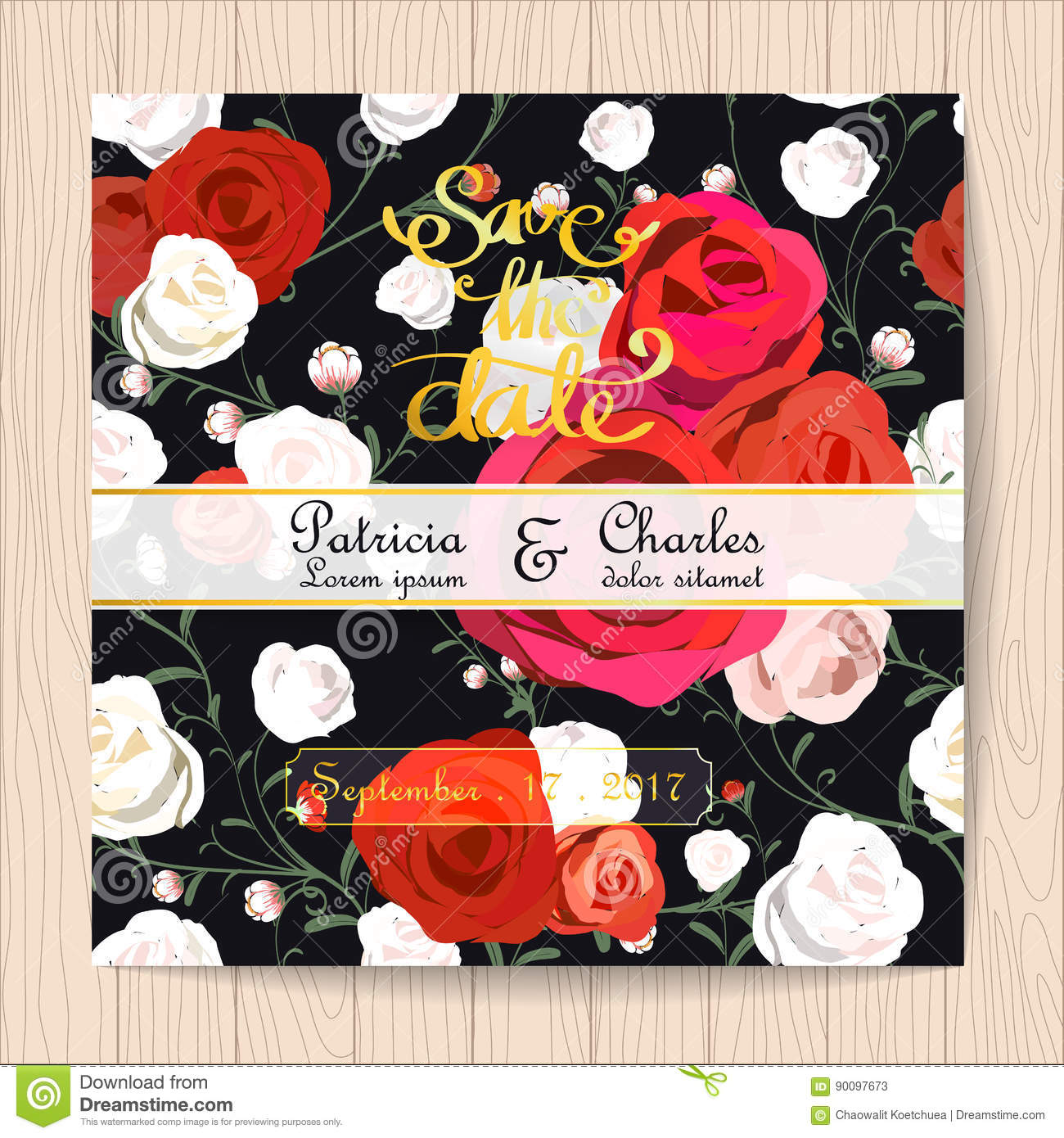 Wedding Invitation Card Vintage Style, Rose Flower Pattern Stock ...