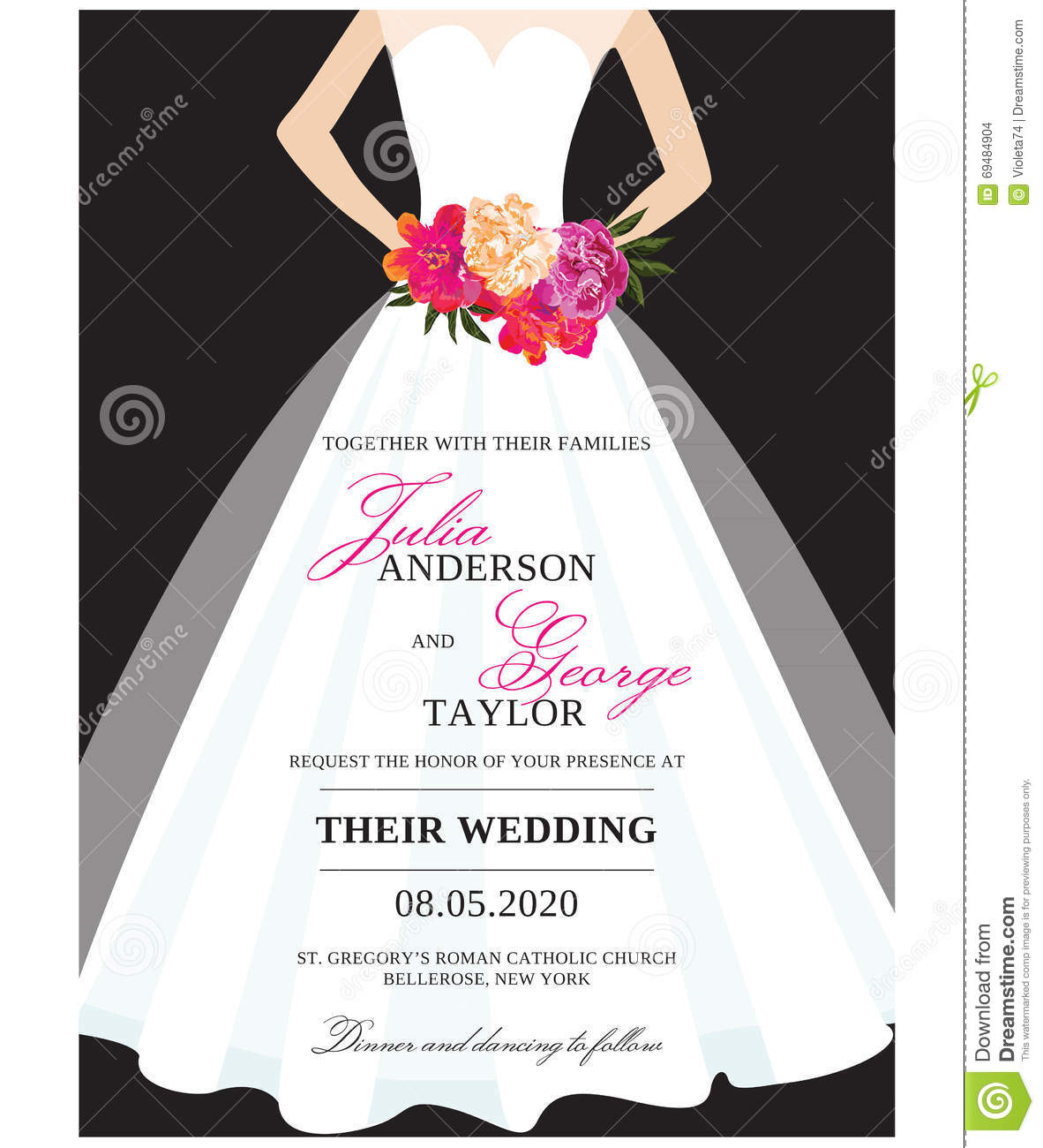 Wedding invitation card with wedding dress stock vector for Wedding dress bridal shower invitations