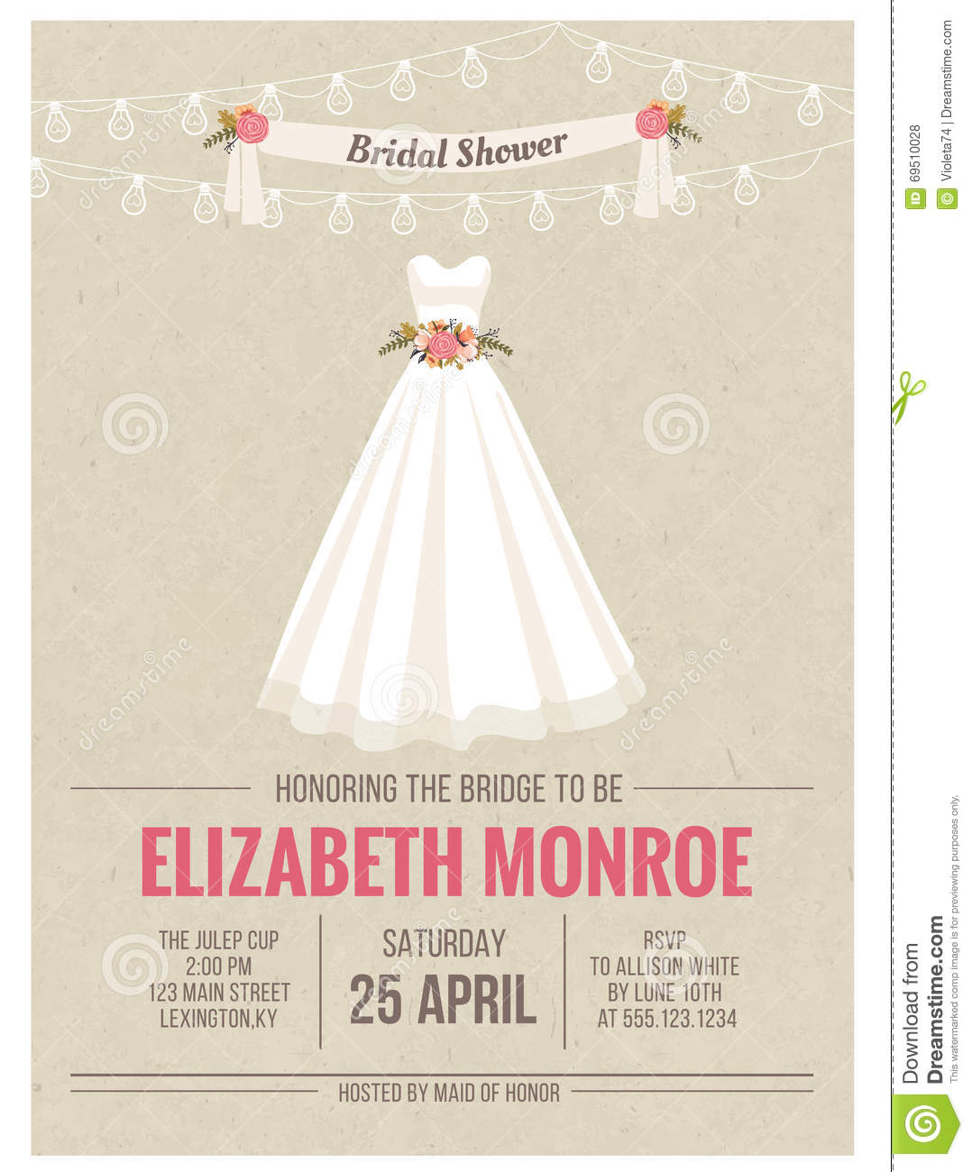 Bridal shower invitation card with wedding dress stock for Wedding dress bridal shower invitations